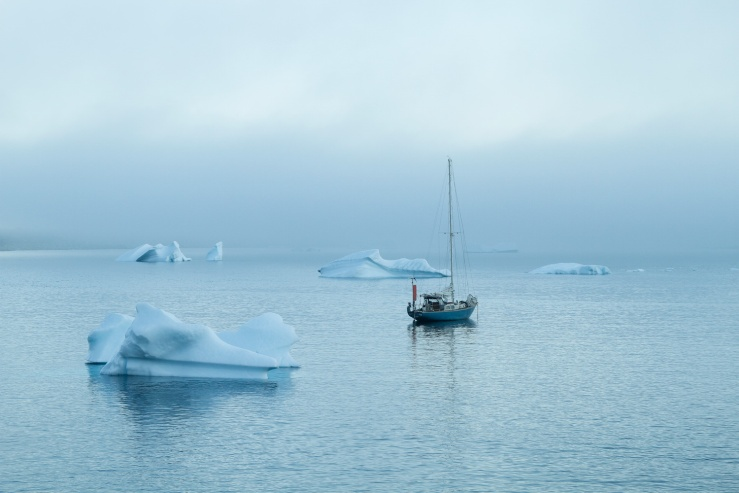 Sailboat anchored amongst icebergs